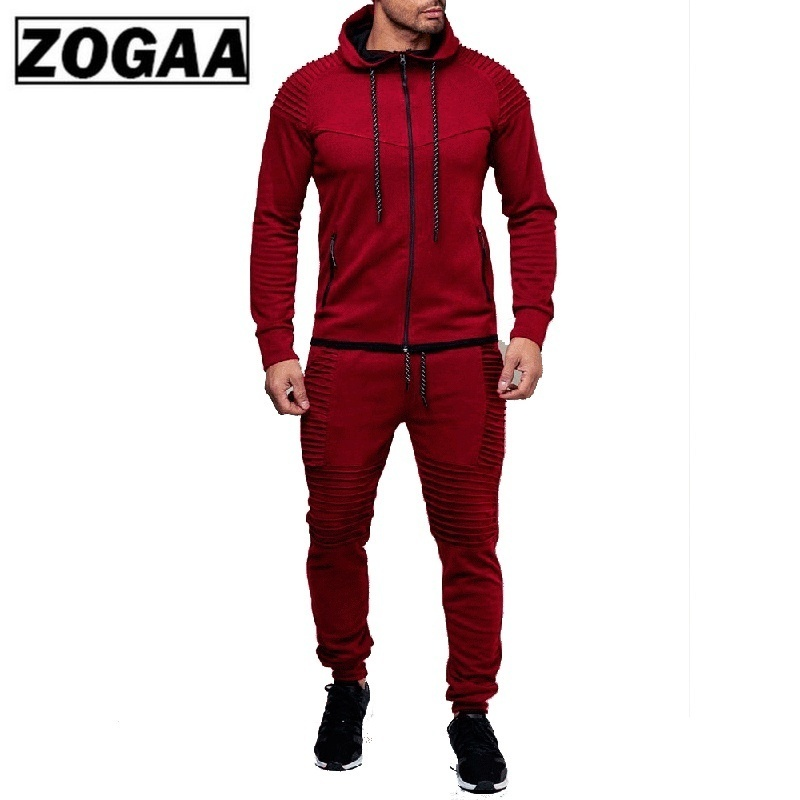ZOGGA Fashion Jacket + Pants Sportswear Men Tracksuit Hoodie Spring Autumn Men Brand Clothes Hoodies Mens Track Suit Set