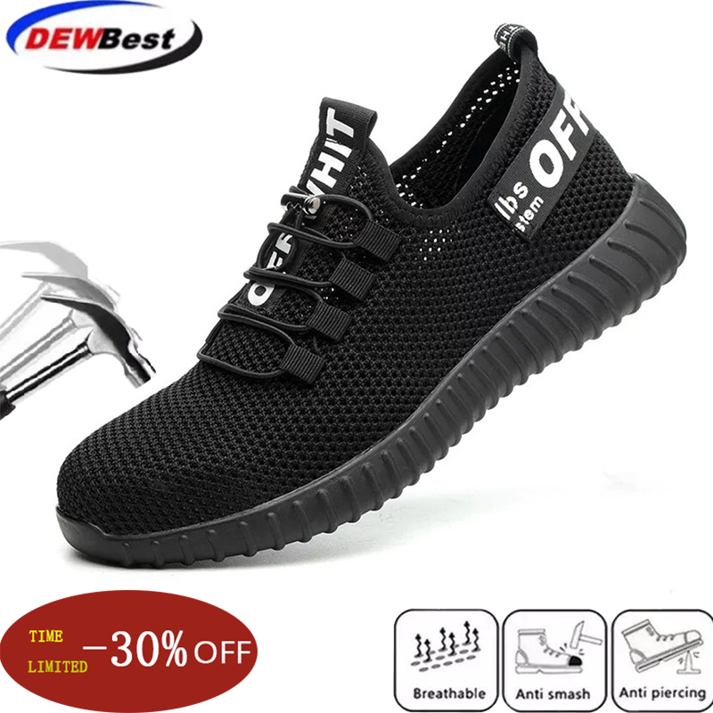 Dewbest Safety Shoes For Men Summer Breathable Work Shoes Lightweight Anti-smashing Shoes Male Construction Work Mesh Sneakers