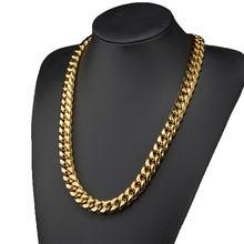 Хип хоп повседневное мужское Ожерелье Золотая кубинская цепочка