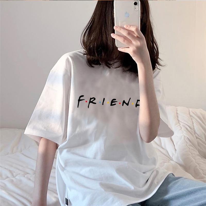 Футболка женская с принтом друзей, оверсайз Повседневная Свободная рубашка с коротким рукавом и круглым вырезом, в стиле Харадзюку, на лето