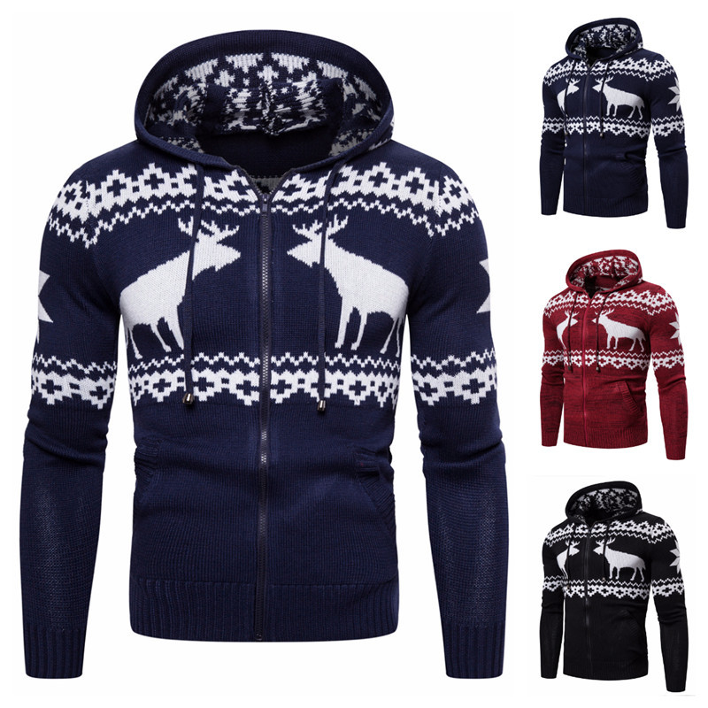 2020 Autumn & Winter New Arrival European And American Men's Zipper Hooded Deer Christmas Sweater Casual Jacket Free Shipping