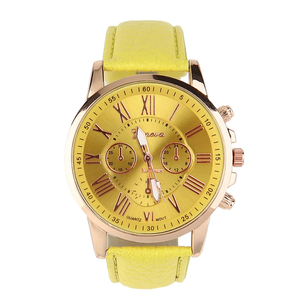 Fashion Brand Unisex Men Male Casual Stylish Romen Numerals Faux Leather Quartz Watch Montre Watches Relojes Mujer#2