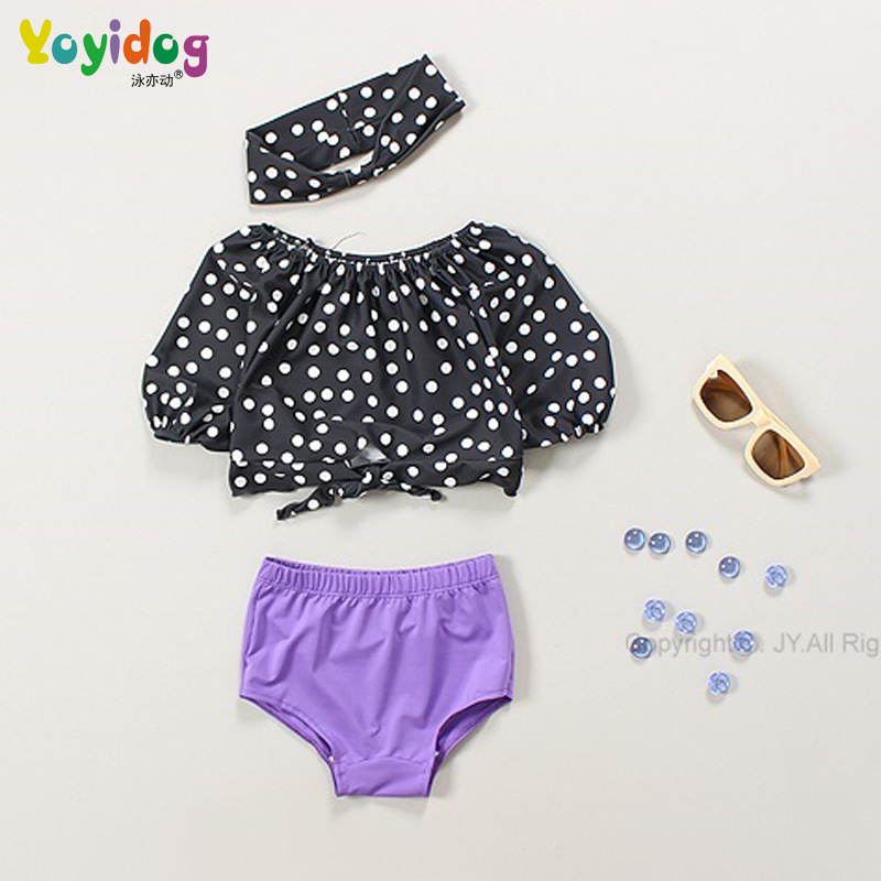 18 New Style Hot Sales Two-piece Swimsuits Send Hair Band Stripes Dots Off-Shoulder Triangular Hipster Girls KID'S Swimwear