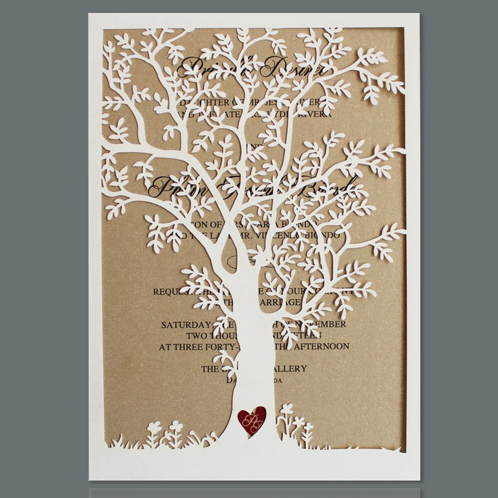 100pcs Rustic Laser Cut Tree Wedding Invitations Cards with ...