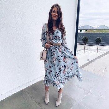 BEFORW 2021 Blue Long Sleeve Women Boho Dress Floral Print Chiffon Dresses Ruffles Female Summer Holiday Casual Vestidos