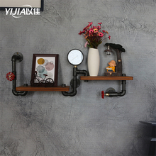 Industrial style creative water pipe kitchen shelf retro wrought iron wall hanging wood display rack book shelf Wall decoration