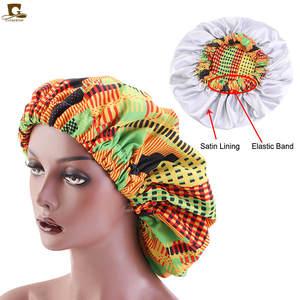 Ladies Turban Bonnets Satin-Lined Print-Fabric Ankara Large African-Pattern Women Night-Sleep-Hat