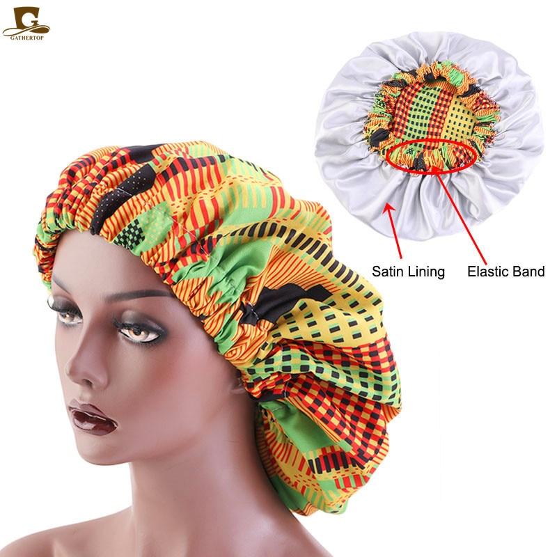 Bonnets doublés en Satin pour femmes | Bonnet Extra large avec motifs africains, bonnets en tissu imprimé Ankara pour la nuit, chapeau pour femmes Turban