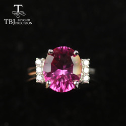 TBJ  brazil 4.5ct pink topaz Ring Oval 9*11mm 925 sterling silver fine jewelry for women mom wife anniversary party ring tbj