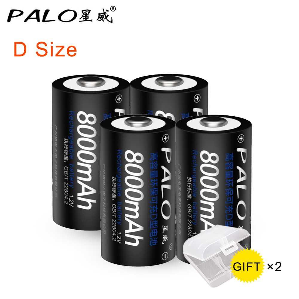 PALO 4 pièces d'origine 1.2V 8000mAh NI-MH batterie Rechargeable D taille batterie D batterie rechargeable pour jouet de lampe de poche