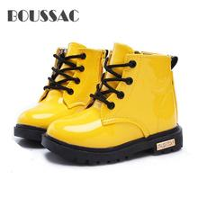 BOUSSAC NEW 2019 Girls Leather Boots Boys Shoes Spring Autumn PU Fashion Toddler Kids Warm Winter