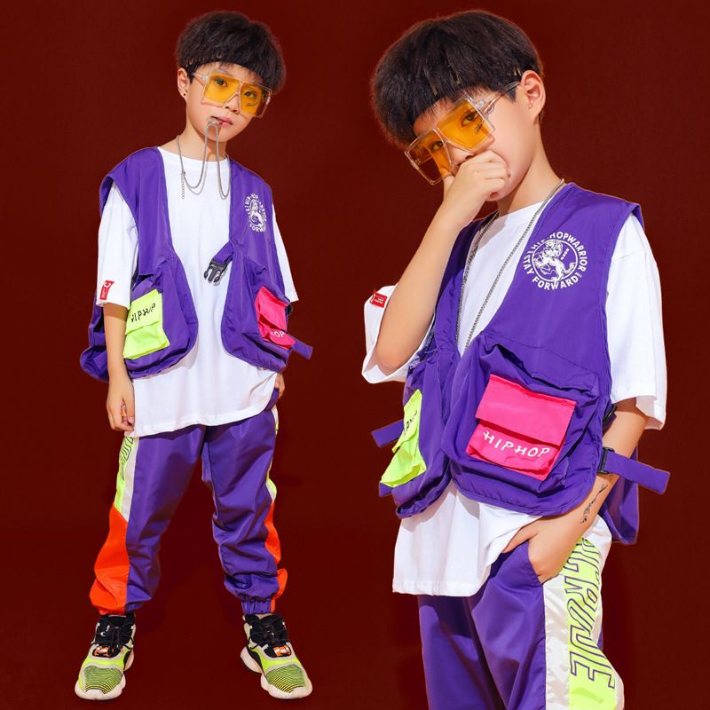 Hip Hop Kids Jazz Dance Costumes For Girls Boys Ballroom Dancing Costumes Clothes Stage Outfits Perform T Shirt Pants Streetwear