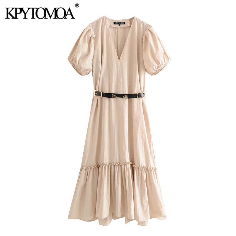 KPYTOMOA Women 2020 Elegant Fashion Ruffled With Belt Midi Dress Vintage V Neck Puff Sleeve Female Dresses Vestidos Mujer