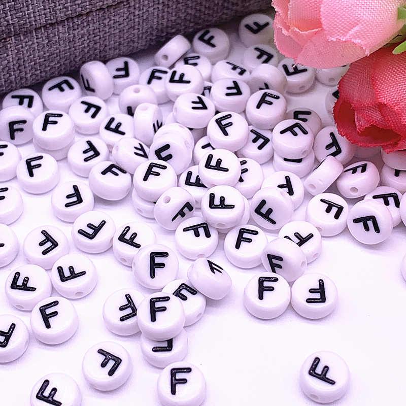 100 pcs/lot 7x4mm 26 Brief Perlen Runde Form Perlen Alphabet Brief Charme für Machen Schmuck zubehör