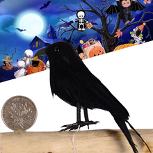 Halloween Bird Crow Props Black Feathered Ornaments Tree Lawn Vivid Party Farm Decoration Garden Anthelmintic недорого