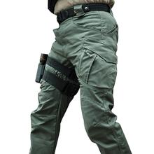 Miasto taktyczne spodnie wojskowe mężczyźni SWAT bojowe spodnie wojskowe mężczyźni wiele kieszenie wodoodporne odporne na zużycie Casual Cargo spodnie 5XL tanie tanio Acacia Person Cargo pants Pełnej długości Mieszkanie REGULAR COTTON Poliester 2 5 - 3 5 Midweight Suknem W stylu Safari
