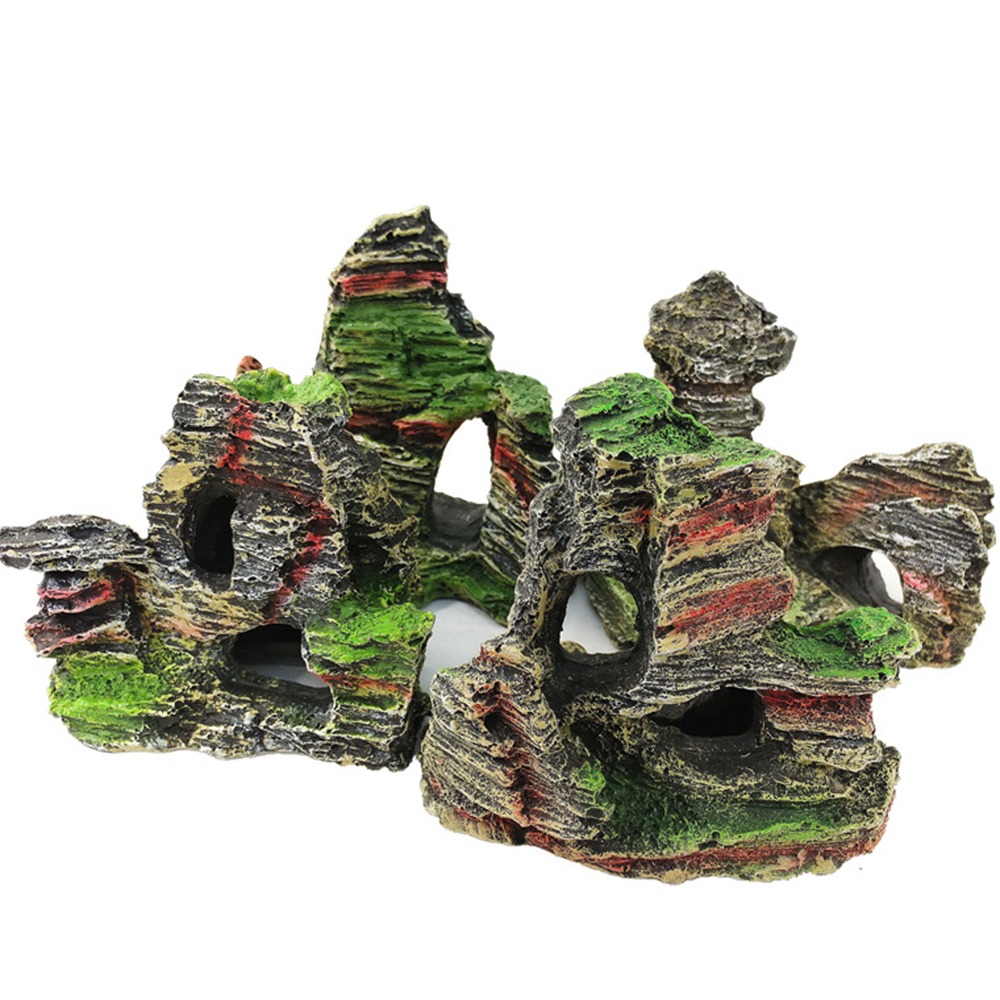 1pc Fish Tank Landscaping Ornamental Rockery Simulation Resin Aquarium Decoration Rockery Mountain Hiding Cave Pet Supplies 40 in Decorations from Home Garden