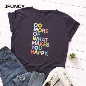 JFUNCY Loose Tops Shirt Tee Short-Sleeve Letter Printed Female Plus-Size Women 100%Cotton