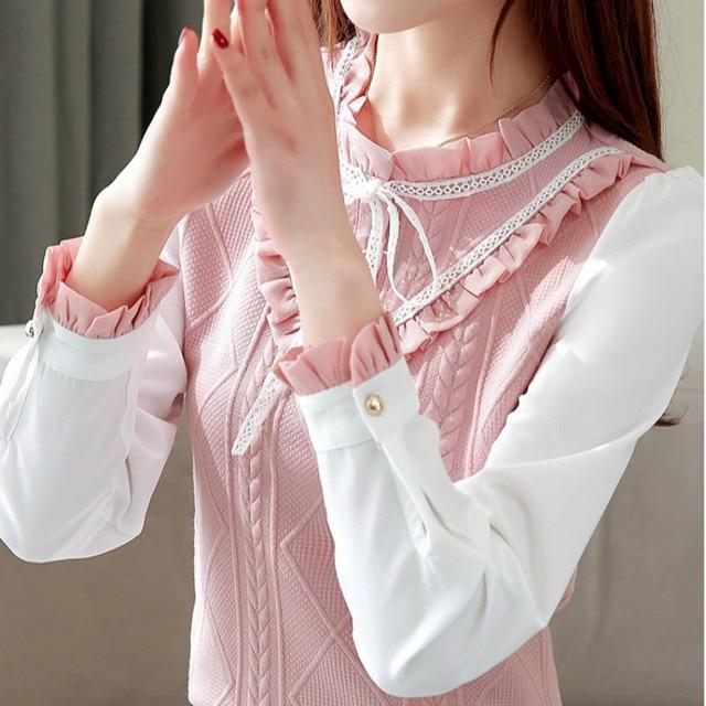 Elegant For Women 2020 Autumn Chiffon Long Sleeves Slim Patchwork Shirt & Blouse Feminine Bow Stand Tops Shirt Plus Size 3XL 2