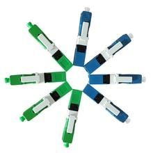 200 unids/pack FTTH SC UPC SC APC conector rápido de fibra óptica monomodo integrado tipo SC UPC conector azul