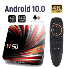 Tv box h50 rk3318, com android 10.0, 4gb, 32gb, 64gb, 4k, h.265, reprodutor de mídia, vídeo 3d, bluetooth, google voice, smart tv
