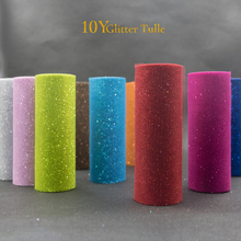 Tulle 10Yards 15cm Glitter Tulle Rolls Sparkly Glitter Sequin Tulle Mesh Baby Shower Tutu Skirt Organza Wedding Decoration