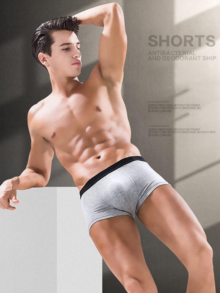 Men's Underwear Shorts Boxers Comfortable SKYHERO Cotton Solid 4pcs/Lot Brand Jdren