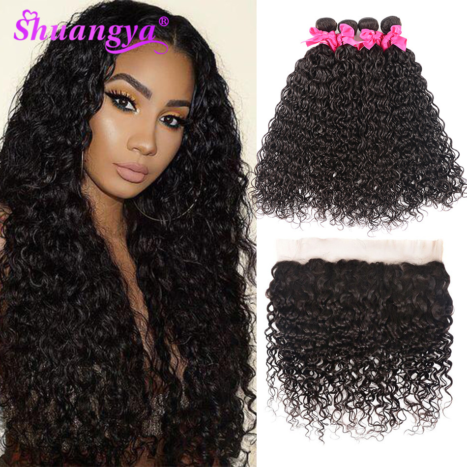 Shuangya Hair Brazilian Water Wave Bundles With Frontal 100% Remy Human Hair Bundles With Frontal 13x4 Frontal With Bundles