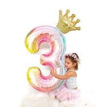 Ballon couronne numérique rose dégradé de 40 pouces, décoration de fête d'anniversaire