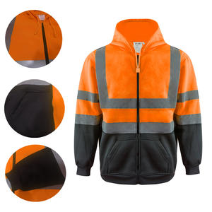 ZUJA Road Work Fleece Reflective High Visibility Hoodies bomber jacket for men