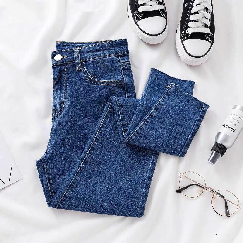 Denim Jeans For Women Slim Pencil Pants Stretch Jeans Ankle Length Elastic High Waist Female Skinny Pencil Pants Trousers