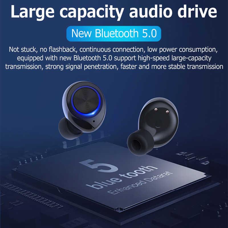 GOOJODOQ 防水 TWS V5.0 ミニワイヤレスヘッドフォンタッチコントロール Bluetooth イヤホン Bluetooth イヤデュアルマイク