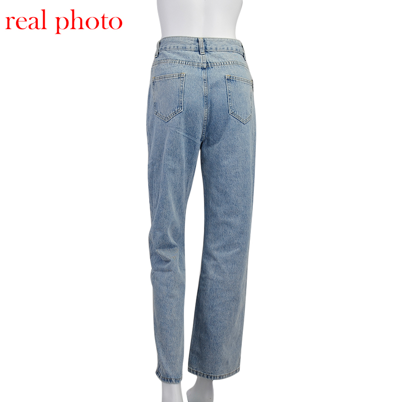 Cryptographic Casual Fashion Straight Denim High Waist Jeans Women Pants Fall Winter 2020 Harajuku Boyfriend Jeans Loose Bottom 6