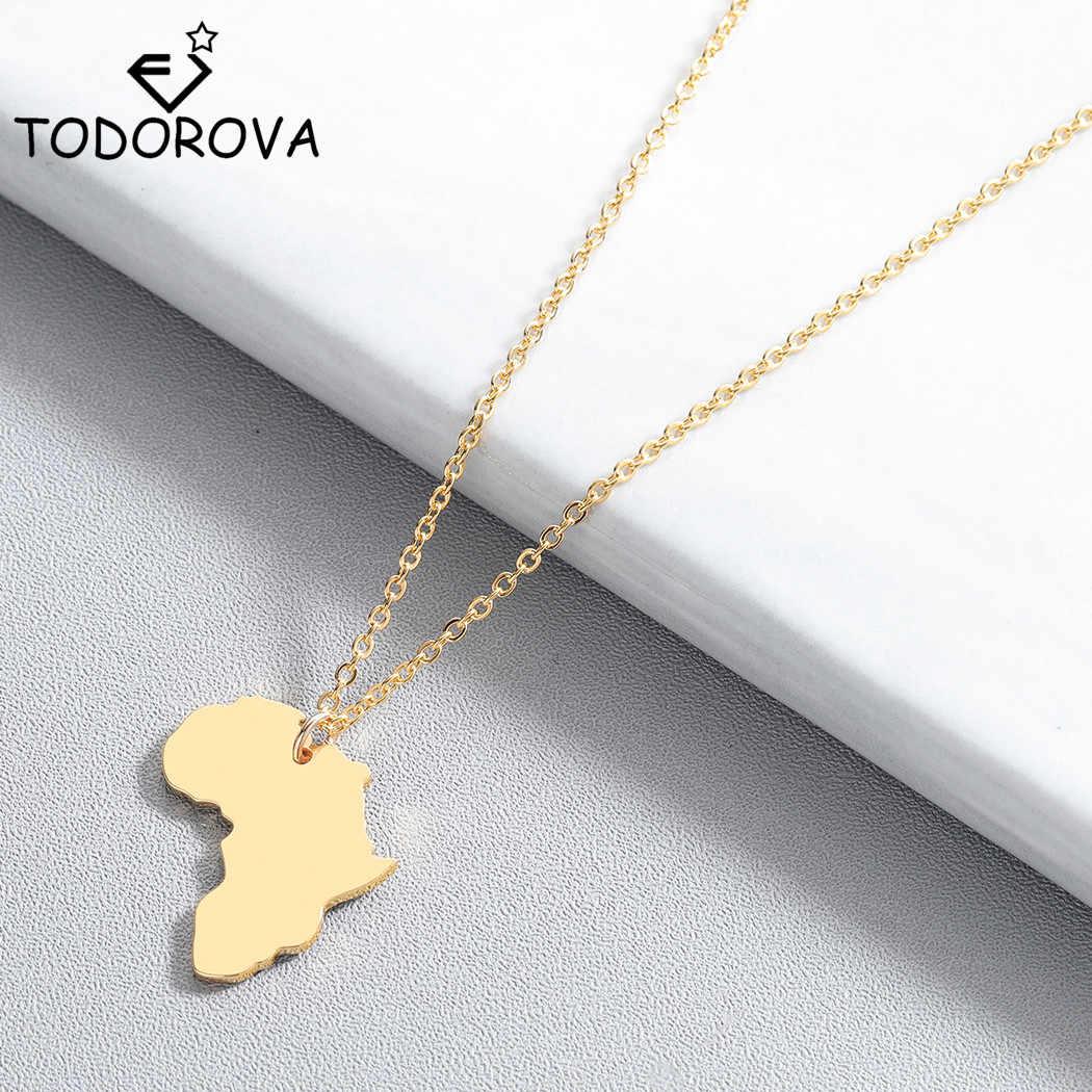 Todorova אפריקה מפת תליון שרשראות לנשים גברים נירוסטה תכשיטי האתיופית אפריקה מפות תכשיטי מתנות