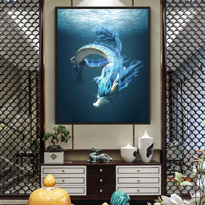 painting by numbers art paint by number Hand-painted sacred Chinese national dragon home corridor decorative painting