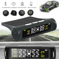 Wireless Solar Car TPMS Tire Pressure Gauge Monitoring System Digital LCD Display Automatic Safety Alarm System Extra 4 Sensors