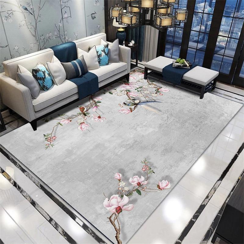 Chinese Style Flower 3D Carpet For Living Room Home Rug Printing Large Carpets Bedroom Study Bedside Hallway Mat Runner Rug