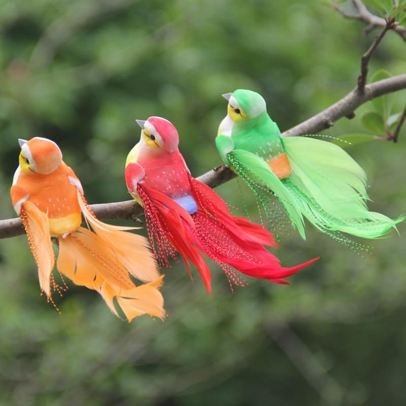 Feather Birds Model Realistic Birds Figurines Decor for Garden Tree Yard