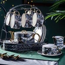 Набор керамических кофейных чашек с алмазным мраморным узором