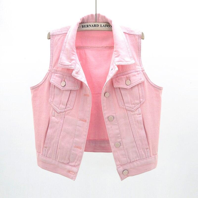 2020 Spring Denim Vest Women Korean Fashion Short Sleeveless Jacket Plus Size Slim Pink Waistcoat Jeans Vest Female Streetwear