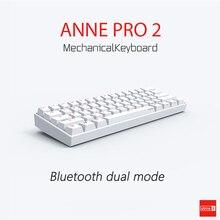 Anne Pro2 Mini teclado mecánico portátil, teclado inalámbrico Bluetooth Mx RGB de 61 teclas para juegos, Gateron Cherry Kailh Box Switch, 60%