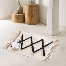 Alfombra Vintage alfombra geométrica nórdica alfombras de moño marroquí alfombras de cama tapetes alfombra dormitorio sala de estar café dormitorio decoración del hogar