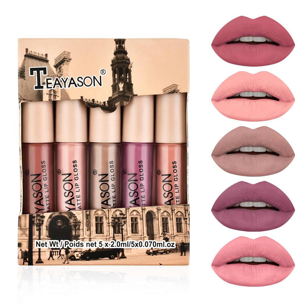 5 adet/grup mat Lipgloss seti uzun ömürlü su geçirmez seksi kadife çıplak dudak parlatıcısı ruj dudak tonu seti kozmetik makyaj Maquiagem