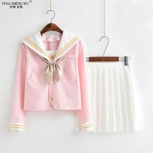 Neue Sakura Licht Rosa Japanische Schuluniform Schülerin Sailor Anzug Student Kleidung Für Mädchen Anime Kawaii Cosplay Koreanische Stil