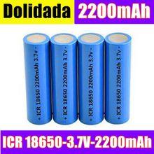 Baterias recarregáveis da parte superior lisa da bateria 2200 batteria de pkcell do li-íon 3.7 mah 18650 v da bateria de lítio de icr18650 sem proteção