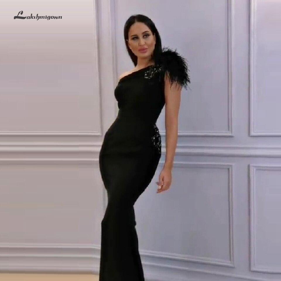 Abendkleider Dubai robe de soirée noire sirène une épaule plumes robes de bal Sexy femmes formelles robes de soirée 2020