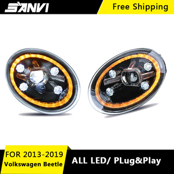 SANVI 2pcs Car LED Headlight assembly For Volkswagen Beetle 2013 to 2019 with Bi led lens LED DRL Car  Styling