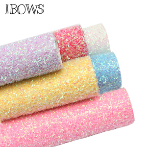 IBOWS 22*30cm Glitter Synthetic Leather Shiny Stripes Sequin Bow Fabric for Wedding Decoration DIY Bags Shoes Sewing Materials