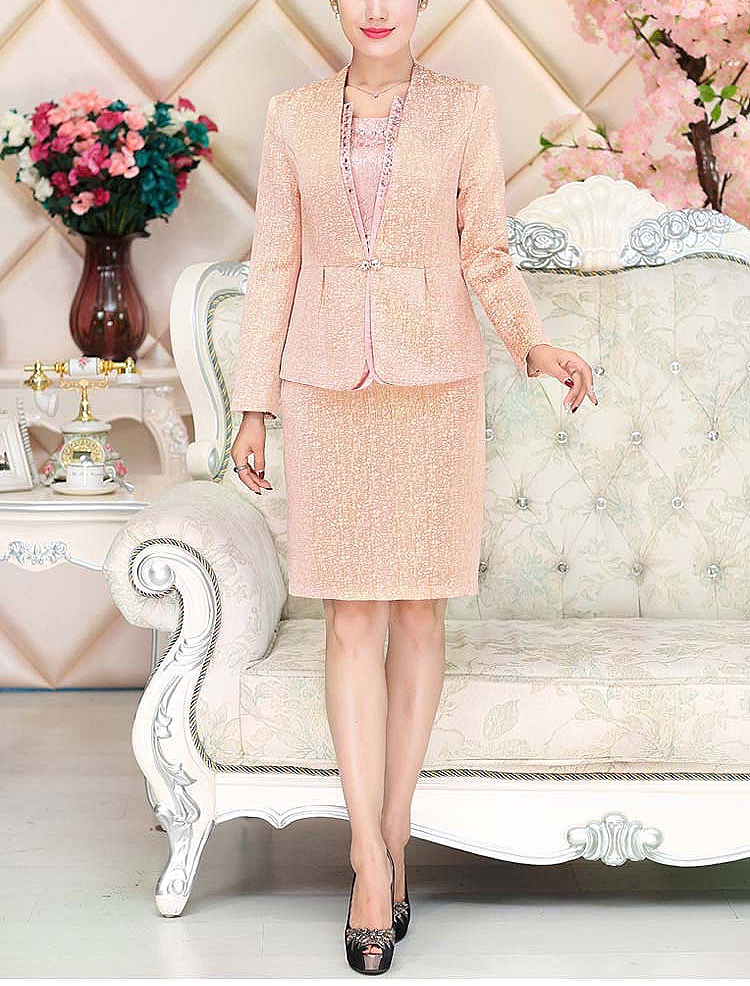 Lace Mother of the Bride Dresses Knee Length 2 Piece with Jacket Mother Dress High Quality  Wedding Party Groom Mother Gown 2020 2