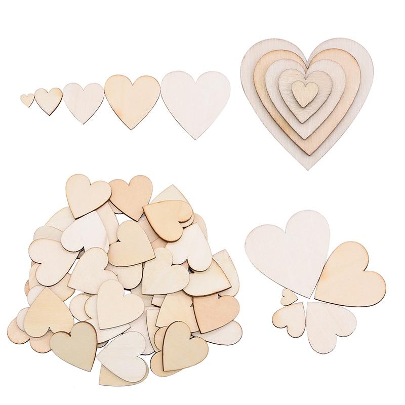 50/100/200 шт., деревянные диски в форме сердца, толщина 2,5 мм